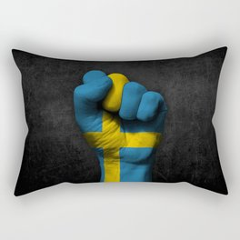 Swedish Flag on a Raised Clenched Fist Rectangular Pillow