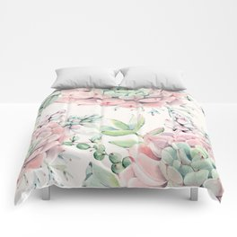 Pink Succulents on Cream Comforters