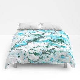 White and blue Marble texture acrylic Liquid paint art Comforters