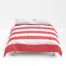 Sunburnt Cyclops - solid color - white stripes pattern Comforters