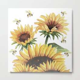 Sunflowers and Honey Bees Metal Print