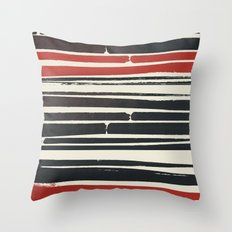 Navy Red Stripes Throw Pillow
