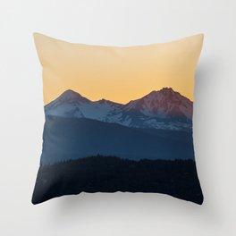 Sunset on the Sisters // Oregon Mountains in Orange Glow Throw Pillow