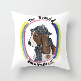 Hound of Biscuitville Throw Pillow