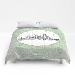 Philadelphia, Pennsylvania City Skyline Illustration Drawing Comforters