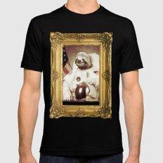 Sloth Astronaut Black Mens Fitted Tee MEDIUM