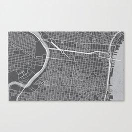Center City Philadelphia Map Canvas Print