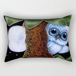 TINY BLUE OWL  - PLAYING WITH THE MOON Rectangular Pillow