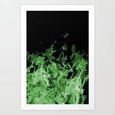 Green Flame on Black Art Print