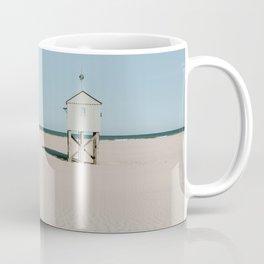 Tiny beach house on the Island Terschelling || Minimalistic travel photography calm ocean sand blue tones Coffee Mug