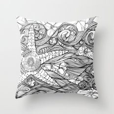 Starfish went out swimming Throw Pillow