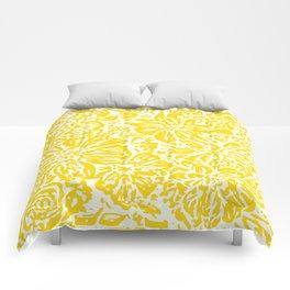 Gen Z Yellow Marigold Lino Cut Comforters