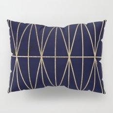 Modern gold geometric triangles pattern navy blue watercolor Pillow Sham