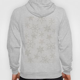 Beige Snowflakes on white background Hoody