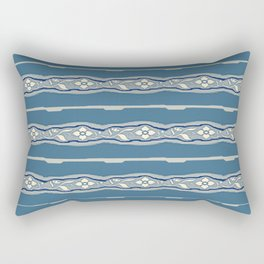 Blue creamy floral textile design Rectangular Pillow