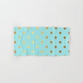Gold polka dots on aqua background - Luxury turquoise pattern Hand & Bath Towel