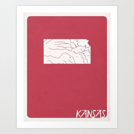 Kansas Minimalist Vintage Map Art Print