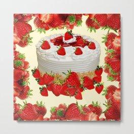 DELICIOUS STRAWBERRY  PARTY CAKE DESSERT Metal Print