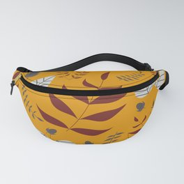 Autumn leaves and acorns - ochre, brown and grey Fanny Pack