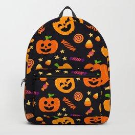 Happy halloween pumpkin, candies and lollipops pattern Backpack