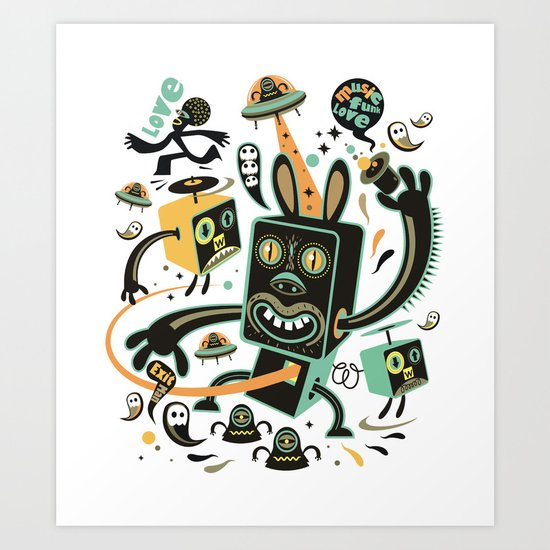 Little Black Magic Rabbit Art Print