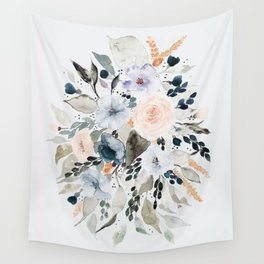 Loose Blue and Peach Floral Watercolor Bouquet  Wall Tapestry