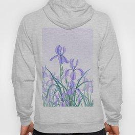 purple iris watercolor Hoody