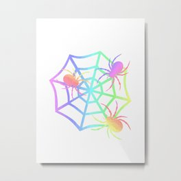 Pastel Spider And Web Metal Print