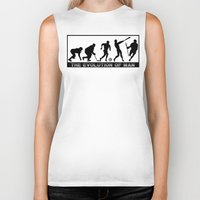 lacrosse Biker Tanks featuring Lacrosse Evolution Of Man by YouGotThat.com