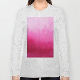 Modern fuchsia watercolor paint brushtrokes Long Sleeve T-shirt