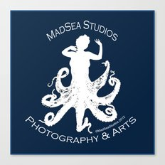 MadSea Nymph, white on blue Canvas Print
