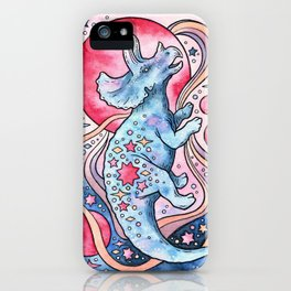 Star Tricera | Cosmic Dinosaur Watercolor iPhone Case