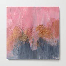 Abstract acrylic    Pink, black & gold Metal Print