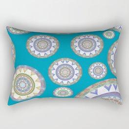 Elegant Turquoise Vintage Mandala Boho Stamp Print Rectangular Pillow