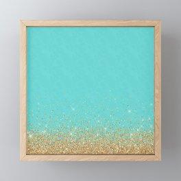 Sparkling gold glitter confetti on aqua teal damask background Framed Mini Art Print