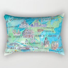 New Orleans Louisiana Favorite Travel Map with Touristic Highlights in colorful retro print Rectangular Pillow