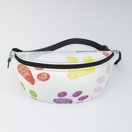 Colorful colored paw print background Fanny Pack