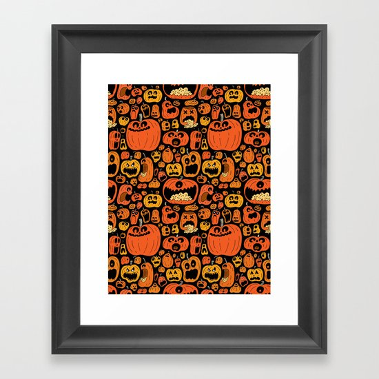 Pumpkin Pattern Framed Art Print