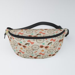 Colorful Hipster Elements Pattern on beige Fanny Pack
