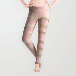 Abstract Drawn Stripes Gold Coral Light Pink Leggings