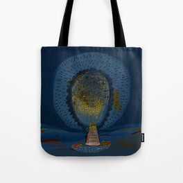 Tree Cactus in a Blue Desert Tote Bag