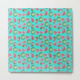 Watermelon Pattern, Turquoise Background Metal Print