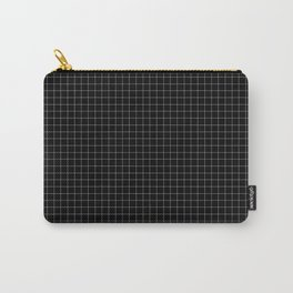 Small White Grid on Black Carry-All Pouch