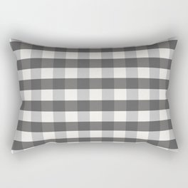 Grey and Pottery White Plaid Gingham Farmhouse Country Canvas digital texture Rectangular Pillow
