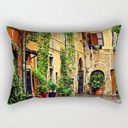 Vintage street in Rome, after Rain Rectangular Pillow