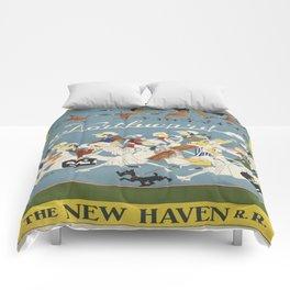 Vintage poster - New Haven Railroad Comforters