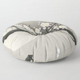 Ohara Koson, Blossoming Tree And Full Moon - Vintage Japanese Woodblock Print Floor Pillow
