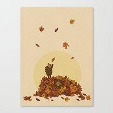 Autumn Hedgehogs Canvas Print