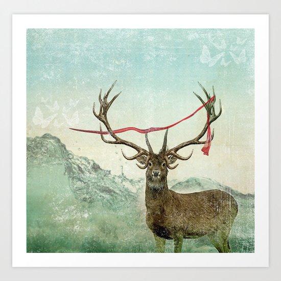 hold deer, tsunami Art Print