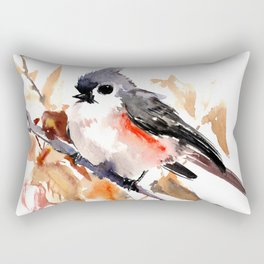 titmouse in the fall, Fall colors, birds and flowers bird art Rectangular Pillow